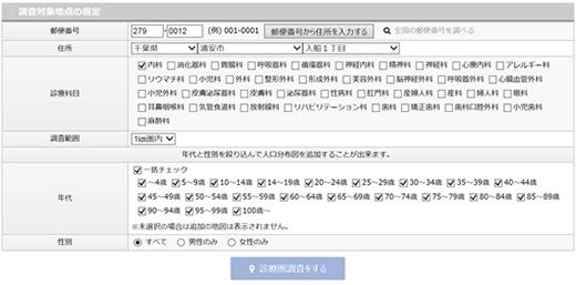 WEB診療圏調査 検索画面